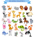 big animals collection set vector image vector image