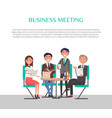 business meeting poster people sitting at table vector image vector image