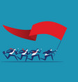 business team holding flag and running to success vector image vector image