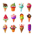 cartoon ice cream and sundae set vector image vector image