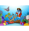 Cartoon sea animals with Shipwreck on the ocean vector image vector image