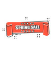 cartoon spring sale ribbon icon in comic style vector image