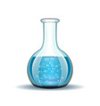 Chemical laboratory transparent flask with blue vector image