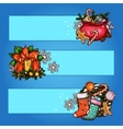Christmas banner with sketched gift holly wreath vector image vector image