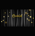 christmas on black fabric background vector image vector image