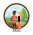 couple man and woman interracial vector image vector image