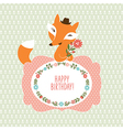 Cute fox Greeting card vector image vector image