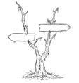 empty blank arrow sign on dead swamp tree vector image vector image