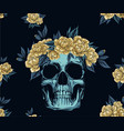 fabric pattern metal skull with golden roses vector image vector image