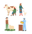 farmers working together man beekeeping vector image vector image