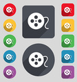 film icon sign A set of 12 colored buttons and a vector image