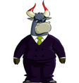 financial bull in sunglass vector image vector image