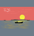 fishing boat sailing in the evening sea vector image