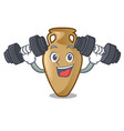 fitness amphora character cartoon style vector image