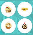 flat cake set of confectionery biscuit doughnut vector image vector image