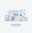 flat line-art business process vector image vector image