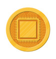 golden coin with computer chip vector image vector image
