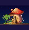 green elf and mushroom house at night vector image vector image