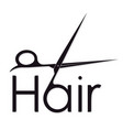 hair symbol with scissors silhouette for business vector image vector image