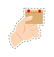 hand holding cardboard box delivery commerce cut vector image