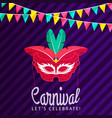 happy brazilian carnival day red carnival mask vector image
