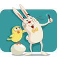 happy easter bunny and chick taking a selfie toget vector image vector image