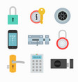 lock icons set in a flat style vector image vector image