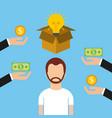 man character crowdfunding money investor capital vector image
