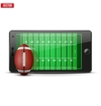 Mobile phone with football ball and field on the vector image vector image