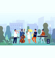 musicians in garden music band performing show in vector image vector image