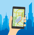 Navigation map on a smart phone vector image vector image