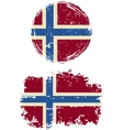 Norwegian round and square grunge flags vector image vector image