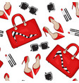 pattern of fashion female items vector image vector image