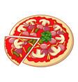 pizza mozzarella icon cartoon style vector image vector image