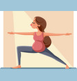 pregnant woman in warrior yoga pose vector image vector image