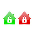 red and green house icons closed and open account vector image vector image