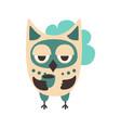 sad cartoon owl bird colorful character vector image vector image