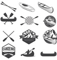 set canoeing labels and design elements vector image