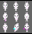 set of cute rabbits character with different vector image