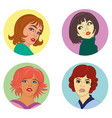 set of fashion faces vector image vector image
