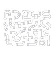 set of pipeline element in line art style contour vector image