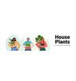 set women taking care houseplants mix race vector image vector image
