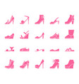 shoes color silhouette icons set vector image vector image