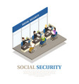 social security isometric composition vector image vector image