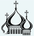 The bulbous domes of orthodox cathedral temple vector image