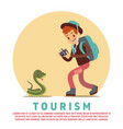 tourism male tourist and snake vector image