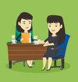 two businesswomen during business meeting vector image