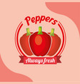 vegetable red peppers always fresh emblem vector image
