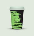 watercolor take away coffee cup creative design vector image vector image