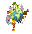 wild animal standing around the world vector image vector image
